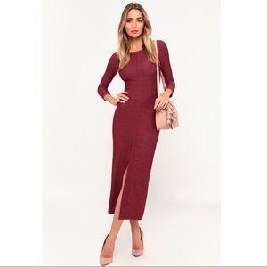 Lulus Keen Washed Burgundy Ribbed Midi Dress